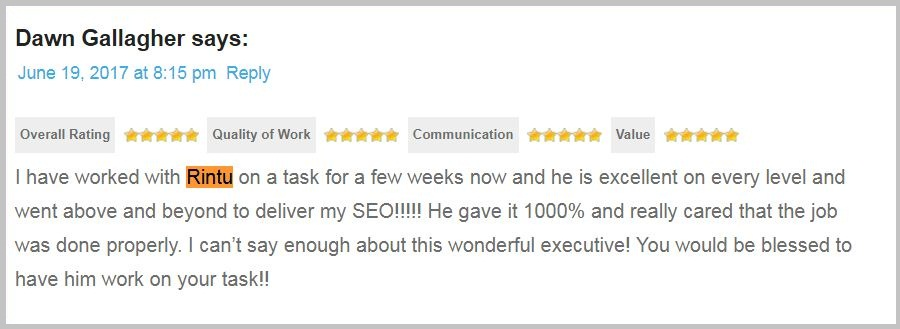 SEO client review 1