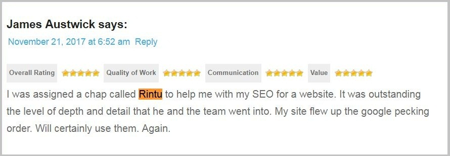SEO client review 2