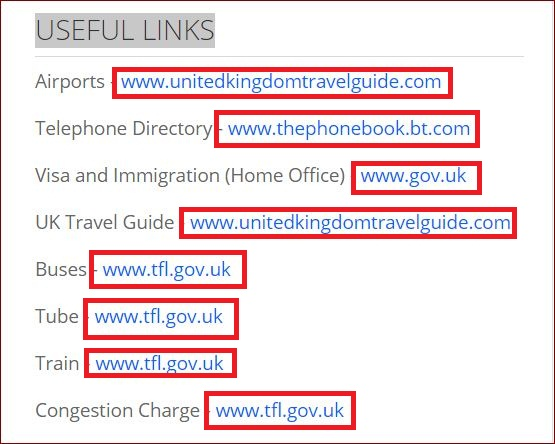 USEFUL LINKS TO HOMEPAGES