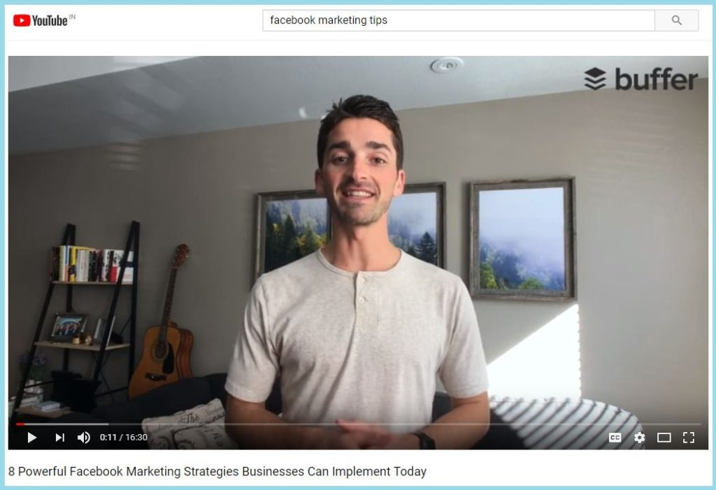 Facebook Marketing Tips Video playing