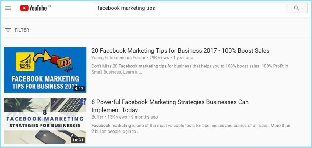 Facebook marketing tips video on YouTube