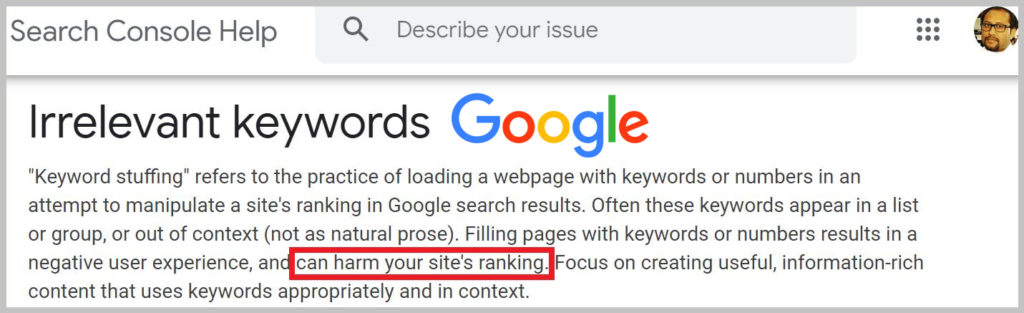 Irrelevant keywords - Google