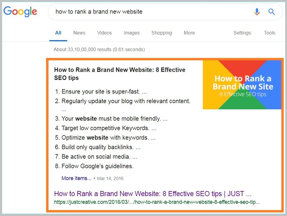 how to rank new website