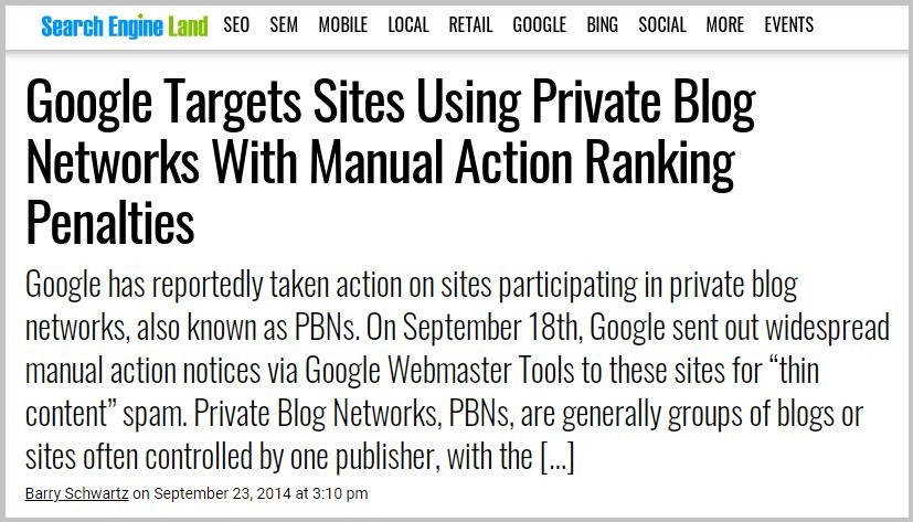 Google Targets Sites Using Private Blog Networks
