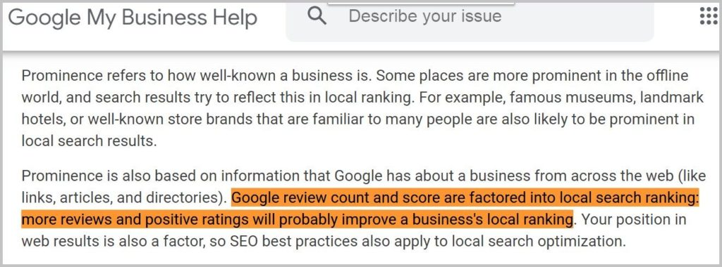 Google review count