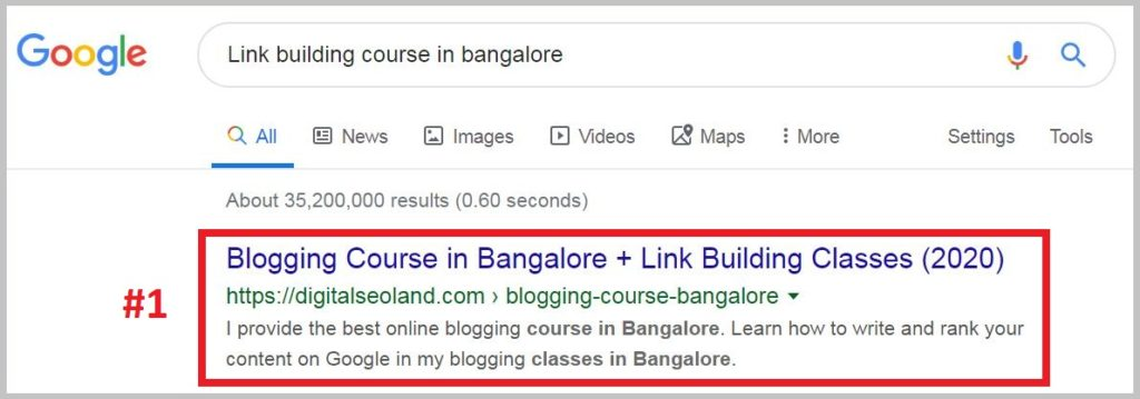 Link building course ranking