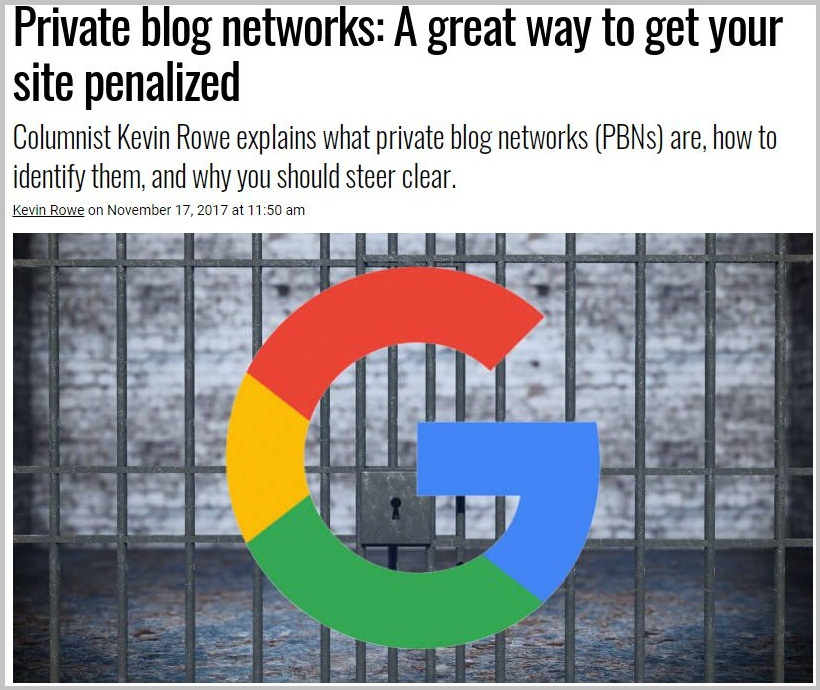 Private blog networks A great way to get your site penalized