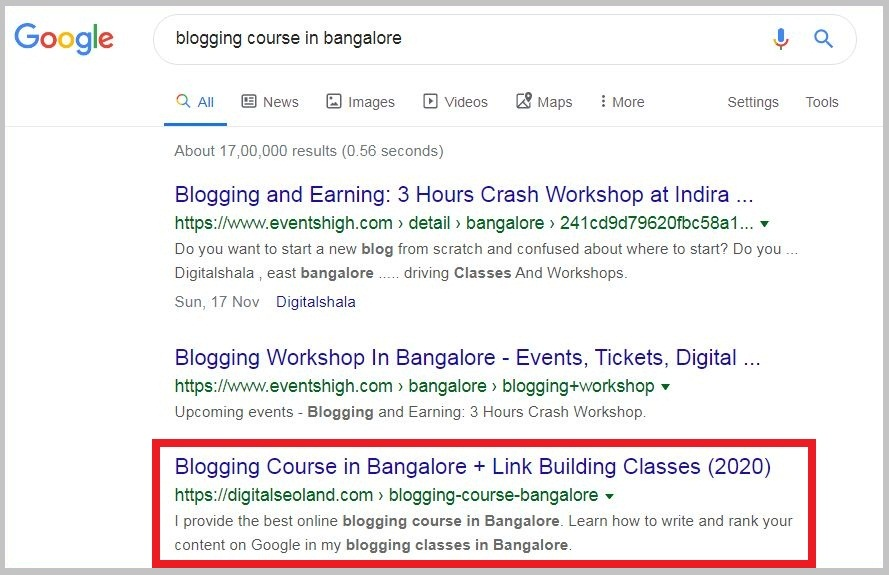 SEO classes in Kolkata Rank