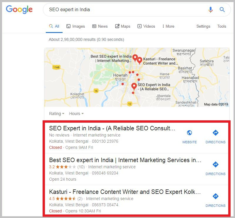 SEO expert in India Local pack