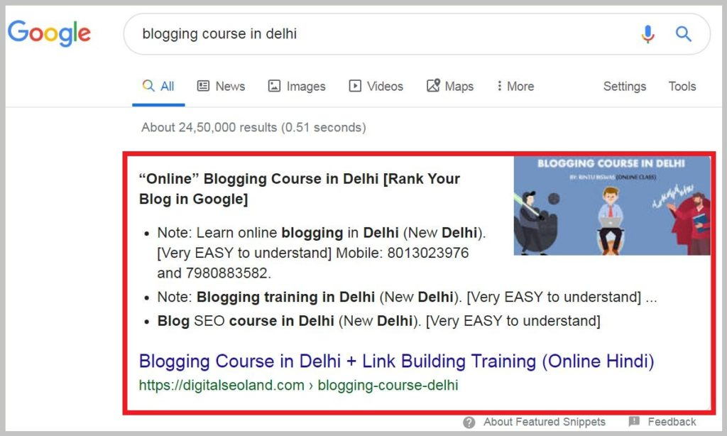blogging course in delhi Direct rank