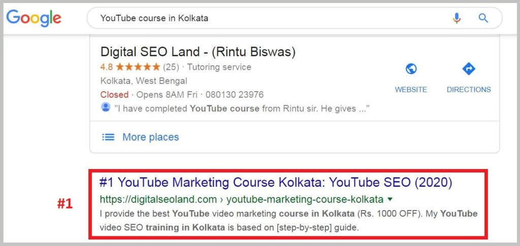 YouTube course in Kolkata rank NEW