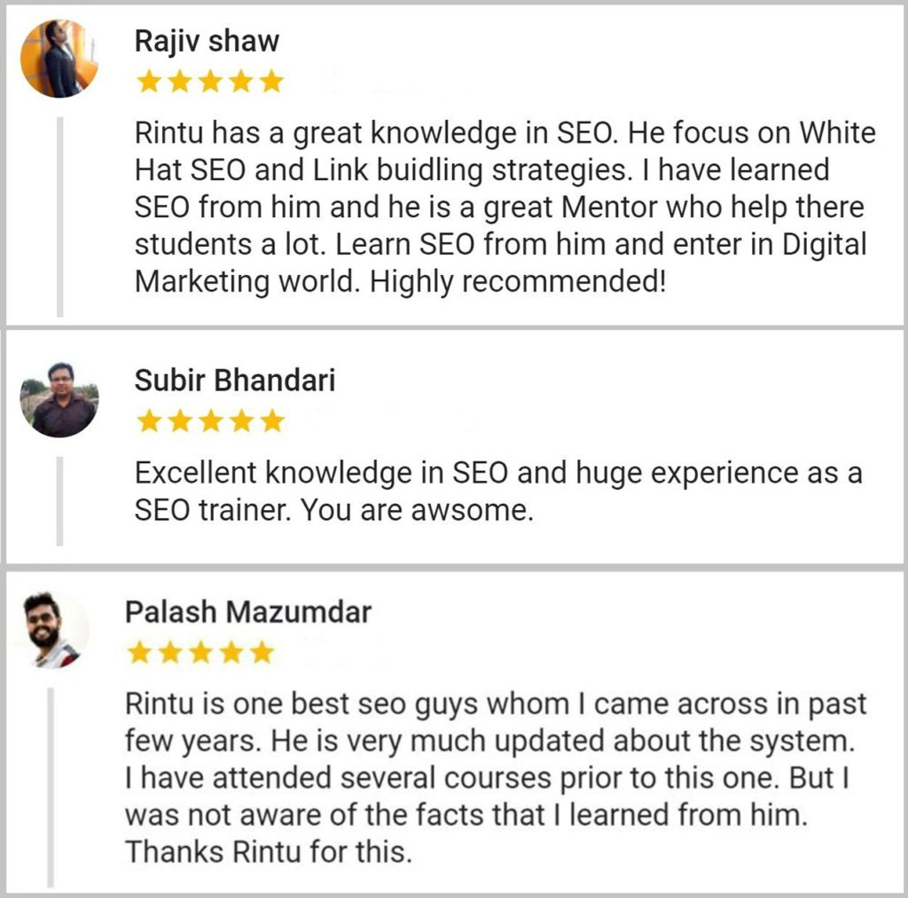 SEO Training Students Reviews