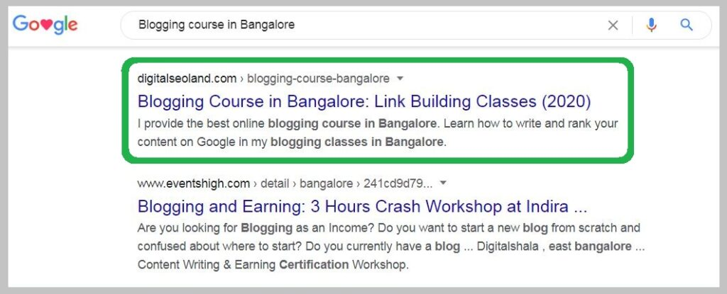 Blogging course in Bangalore Ranking