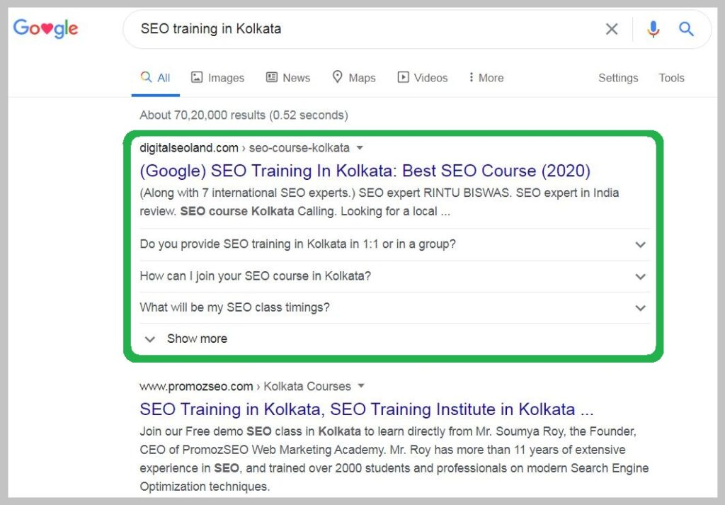 SEO training in Kolkata Ranking