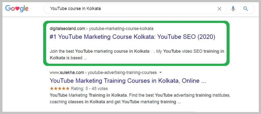 YouTube course in Kolkata Ranking