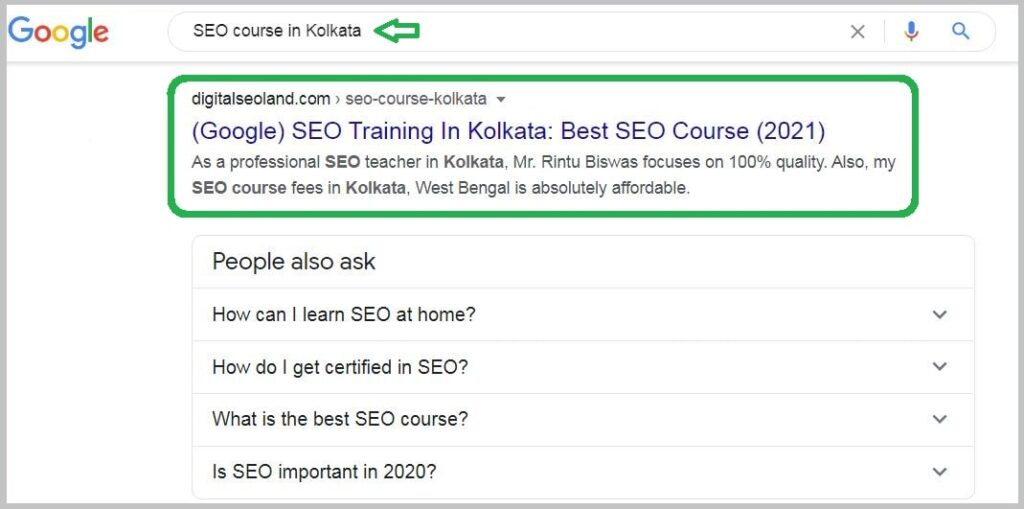 SEO Course in Kolkata keyword