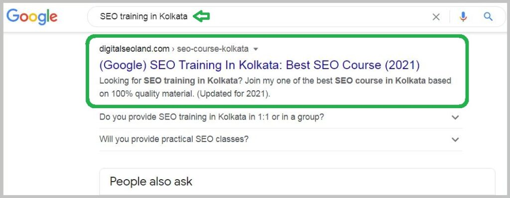 SEO training in Kolkata keyword