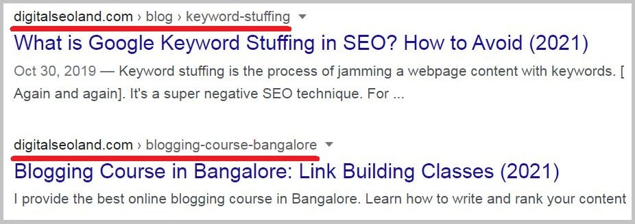 keyword in your target page